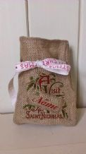 Personalized Vist from St Nick Small Father Christmas Xmas Santa Sack / Stocking Bag Jute Hessian